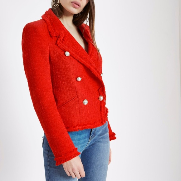 e92a79c66dd4e River Island Red boucle double-breasted jacket